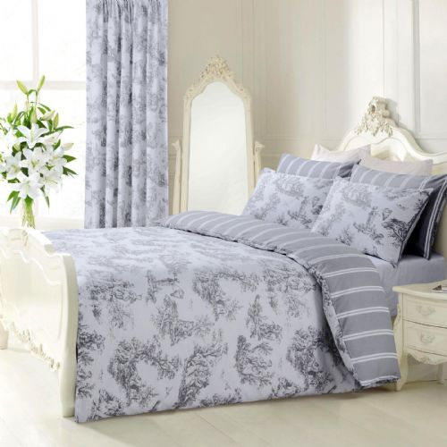 GREY WHITE STYLISH TOILLE FRENCH FLORAL DESIGN REVERSIBLE BEDDING DUVET COVER SET